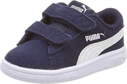 Puma - Smash V2 Sd V Inf, Zapatillas Unisex Niños, Azul (Peacoat-Puma White 02), 24 EU