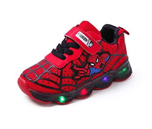 Zapatos infantiles LED Spiderman hombre zapatos de bebé universales femeninos (Rojo,29EU)