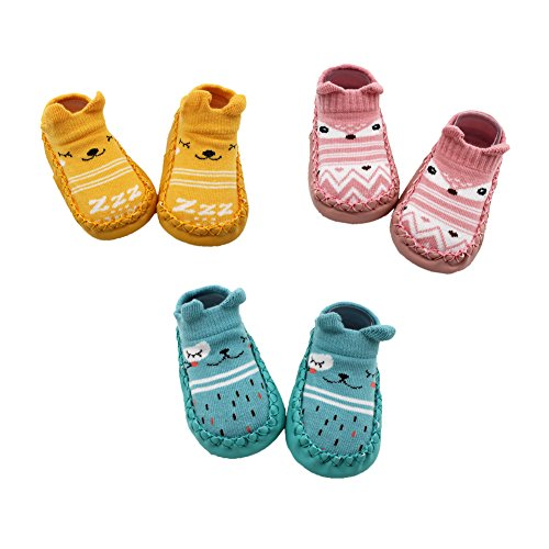 Z-Chen Pack de 3 Pares Zapatillas para Bebé con Suela Antideslizante, Amarillo + Rosa + Azul, 12-18...